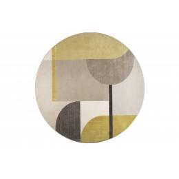 Koberec kulatý HILTON ZUIVER Ø 240 cm, šedý/žlutý