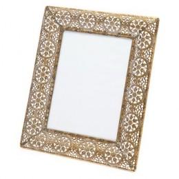 Fotorámeček tepaný mosazný v kruhy 28x23 cm,zlatý