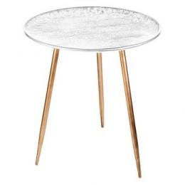 Odkládací kulatý stolek IVORY s bílým krajkovým vzorem 45x50cm,zlatý