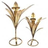 Svícen na čajovou svíčku LIST 48 cm kov, zlatý