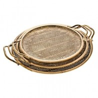 Set 3 kulatých táců s uchem 48/44/39 cm kov, zlatý