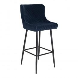 Barová židle DALLAS samet modrá, černá podnož