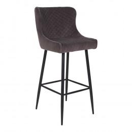Barová židle DALLAS samet zelená, černá podnož