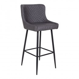 Barová židle DALLAS samet šedá, černá podnož