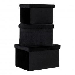 Úložný Box MONZA House Nordic  3ks samet černý