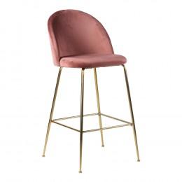 Barová židle LAUSANNE velvet růžová, nohy mosaz