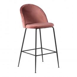 Barová židle LAUSANNE velvet růžová, nohy černé