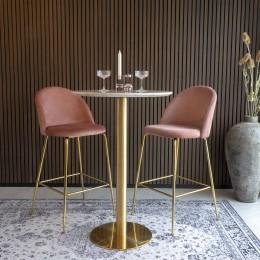 Barová židle LAUSANNE velvet růžová/nohy mosaz