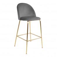 Barová židle LAUSANNE velvet šedá, nohy mosaz
