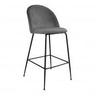 Barová židle LAUSANNE velvet šedá, nohy černé