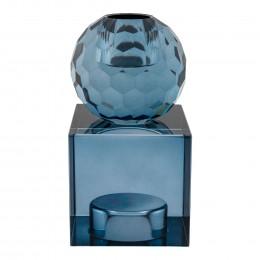 Svícen skleněný TORCELLO ø6x11,5 cm modrý