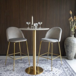 Barový set 2ks židlí LAUSANNE + stůl BOLZANO ø70x105cm,modrá, mosaz