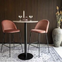 Barový set 2ks židlí LAUSANNE + stůl BOLZANO ø70x105cm,růžová, mosaz