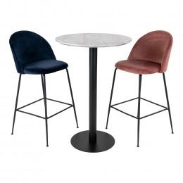 Barový set 2ks židlí LAUSANNE + stůl BOLZANO ø70x105cm,růžová, černý kov