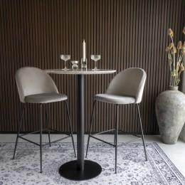 Barový set 2ks židlí LAUSANNE + stůl BOLZANOø70x105cm,modrá,černý kov