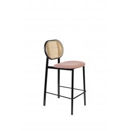 Barová židle SPIKE ZUIVER, šedá látková s ratanovým opěradlem