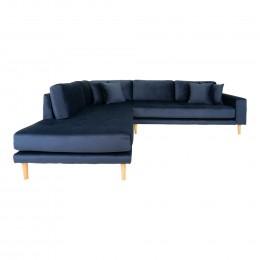 Rohová pohovka s rohem LIDO 257 cm,polyester tmavě modrá, levý roh