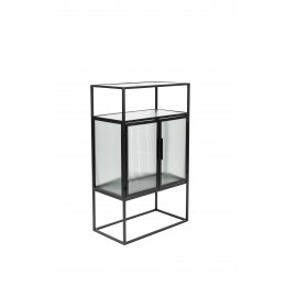 Skleněná vitrína DUTCHBONE BOLI 105x65 cm, černý kov
