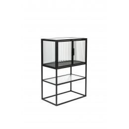 Skleněná vitrína DUTCHBONE BOLI 90x60 cm, černý kov