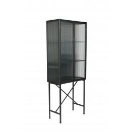 Skleněná skříň DUTCHBONE BOLI 178x70 cm, černý kov