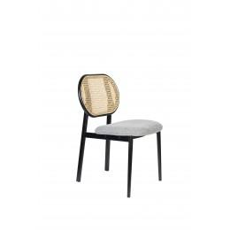 Jídelní židle čalouněná SPIKE ZUIVER, růžová s ratanovým opěradlem