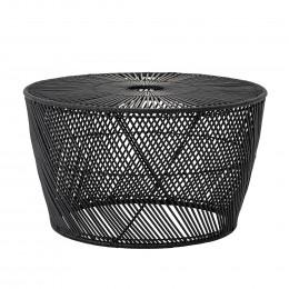 Ratanový odkládací stolek DITTE Ø67 x36 cm, černý