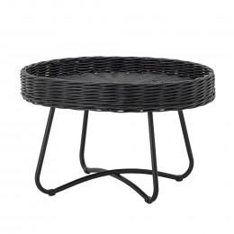 Ratanový odkládací stolek HATTIE Ø60 x 40 cm, černý