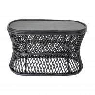 Odkládací stolek oválný ABBY, rákos černý