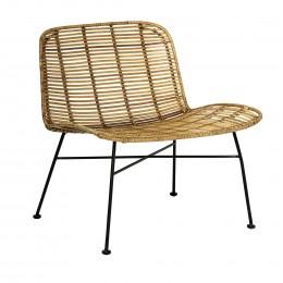 Ratanová židle s područkami MAILA, černá