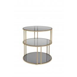 Kulatý skleněný stolek odkládací TORN DUTCHBONE, zlatý