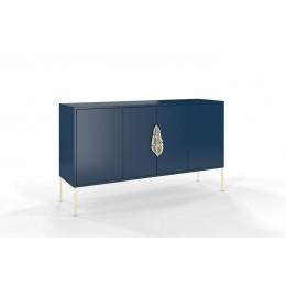 Komoda SKANDICA MERLIN 138 cm, modrá a zlaté kovové nohy