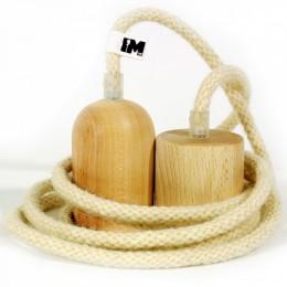Dřevo a vlna-závěsná žárovka