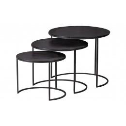 Kulaté odkládací stolky JANNE set 3 ks, kov černý
