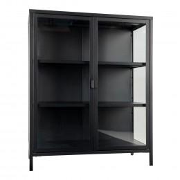 Skleněná vitrína BRISBANE 101,5 cm, černý kov