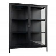 Skleněná vitrína BRISBANE 101,5x80 cm, černý kov