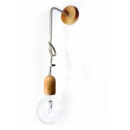 Nástěnná lampa závěs - dřevo a len