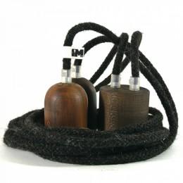 Tmavé dřevo a vlna- 2 závěsné žárovky