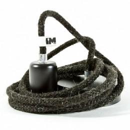 Přírodní závěsná žárovka, vlna/ lak černá