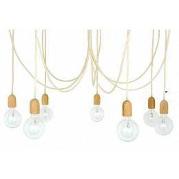 Závěsný lustr IMIN  7 žárovek, dřevo/vlna