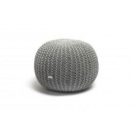 Justin Design Pletený puf střední šedý melír