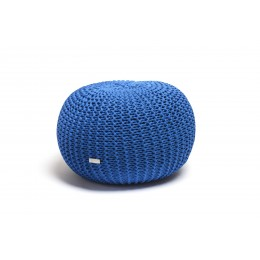 Justin Design Pletený puf střední modrý královský