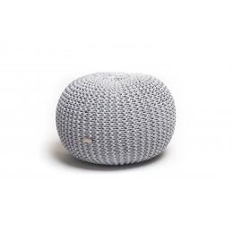 Justin Design Pletený puf velký melír světle šedá